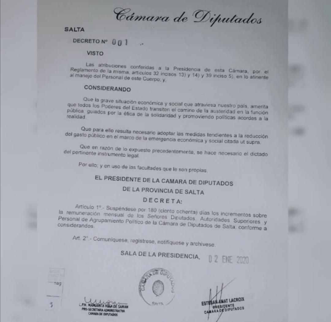 Decreto Congelamiento Dietas - Cámara de Diputados-1